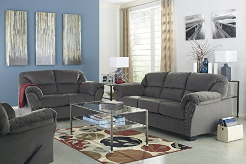 Kinlock Contemporary Charcoal Fabric Nailhead Trim Livingroom Set with Sofa, Loveseat and Rocker Recliner
