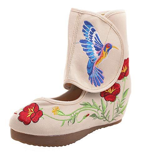 Shoes Hummingbird Beige Dancing Classy Embroidery Women Velcro AvaCostume Platform wq6H0n