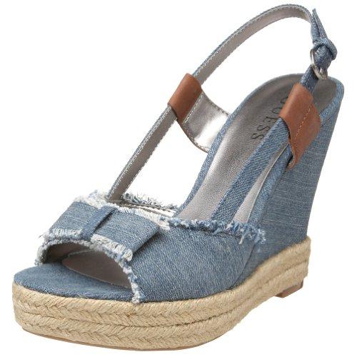GUESS Women's Bashful Wedge Sandal,Medium Blue,8 M US