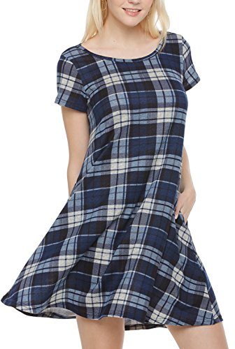 Plaid Spring Dress - Girl2Queen Womens Pocket Dress, Short Sleeve Dress for Women Tartan Dresses for Women, Shift Dress for Women with Sleeves