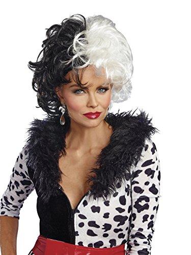 Dalmatian Diva Wig Costume Accessory - Cruella De Vil Costume Accessories