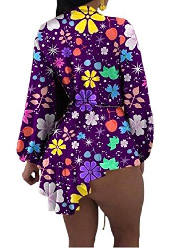 V Tintura Dell'anca Colorato donne Vestito Stampato Profondo Scollo As1 Coolred Lunga A Manica Uzw6RqF