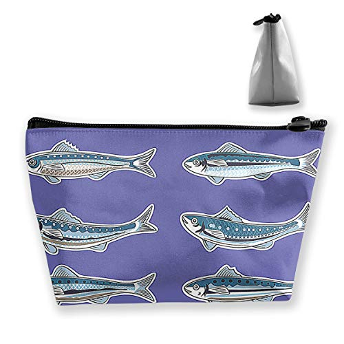 Illustration For Artwork Sardine Or European Pilchard Womens Travel Cosmetic Bag Portable Toiletry Brush Storage High Capacity Pen Pencil Bags Accessories Sewing Kit Pouch Makeup Carry -