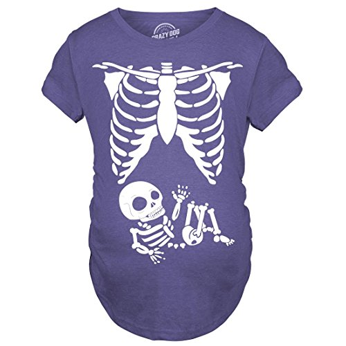Crazy Dog T-Shirts Maternity Skeleton Baby T Shirt Halloween Costume Funny Pregnancy Tee for Mothers (Heather Purple) -L - Halloween Maternity Shirt