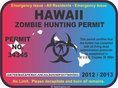 Hawaii zombie hunting permit decal bumper sticker