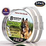 HKCP Products Flea and Tick Prevention Collar for Dogs - Flea collar Long Lasting 8 Month Protection- Flea tick collar Natural and Waterproof - Safe & Hypoallergenic - One Size Fits All - 2 Packs