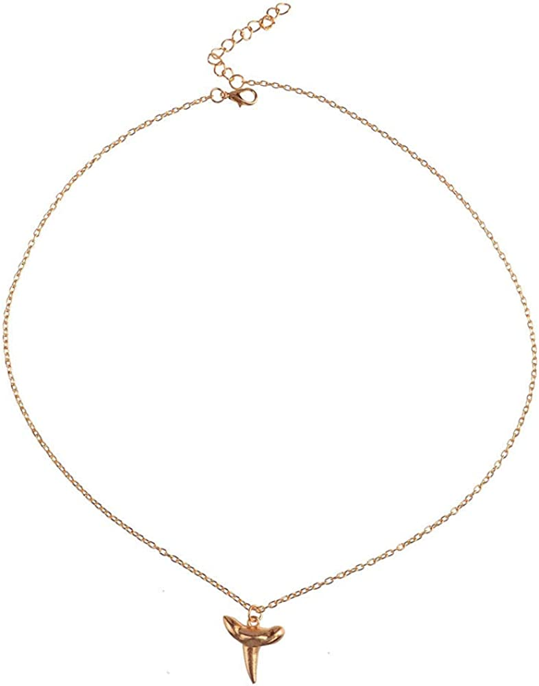 Fairyu Dainty Tiny Shark Tooth Pendant Layering Necklace Gold Simple Minimalist Jewelry for Women and Girls