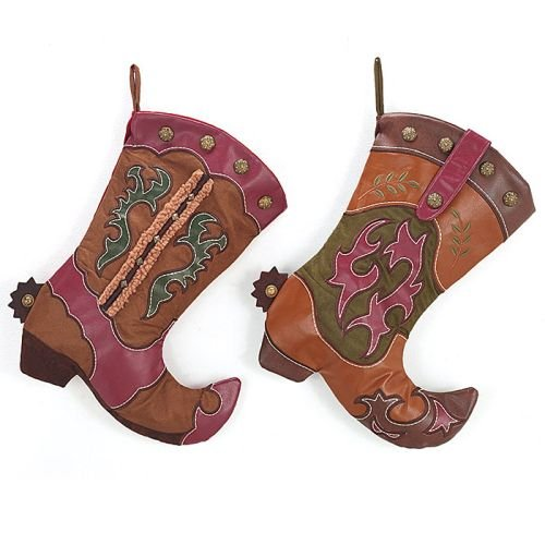 Cheap Western Cowboy Boot Christmas Stocking Assorted Set of 2 – Xmas Holiday Hanging Fireplace Decoration