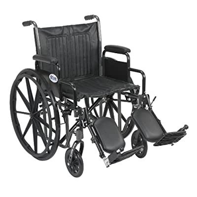 """Drive Medical Silver Sport 2 Wheelchair with Various Arms Styles and Front Rigging Options, Black, 20"""""""