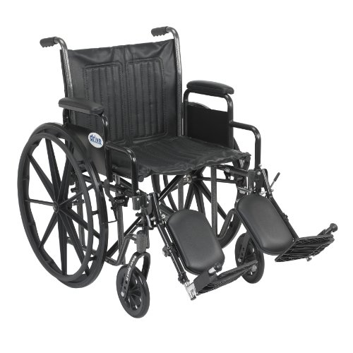 Drive Medical Silver Sport 2 Wheelchair with Various Arms Styles and Front Rigging Options, Black, 20'' by Drive Medical