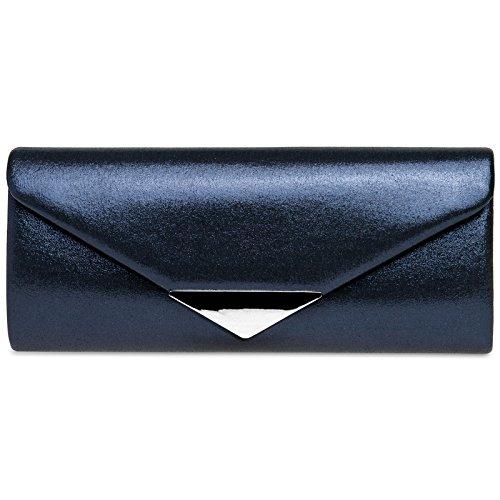 Dark Decor Metal with Satin CASPAR Clutch Evening TA417 Bag Envelope Blue Elegant Ladies wBPq40qF