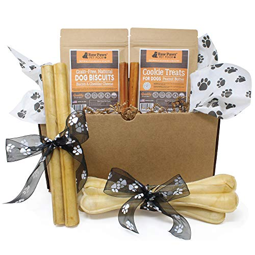 Raw Paws Pet Dog Birthday Treats for Large Dogs - Dog Gift Box - Dog Chews and Treats Variety Pack - Birthday Gifts for Dogs - Dog Gift Basket - Natural Rawhide Chews, Bully Sticks, Biscuits & Cookies ()