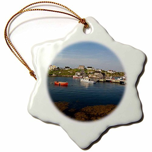 OneMtoss Peggys Cove Fishing Village, Nova Scotia, Canada Cn Mde Michael Defreitas Snowflake Ornament, Porcelain, for $<!--$10.99-->