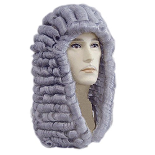 Anogol Hair+Cap New Style Lawyer Wig Judge Wig Long Curly Gray Silver Men Wig Men's Colonial George Washington Historical Costume Wig Halloween