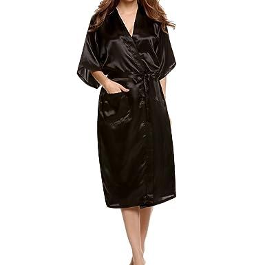 a999e79fa0 Hibote Woman Silk Satin Long Wedding Bride Bridesmaid Robes Kimono Robes  Bath Robes Large Size Sexy