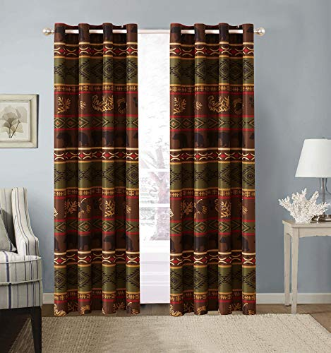 Rustic Western Native American Designs W/Grizzly Bears and Pinecone Prints 2 Piece Window Curtain Treatment Drapes Two Piece Set with Grommets in Brown Green (2 Panels - 54x84 Each) Bear Curtain 2PC ()