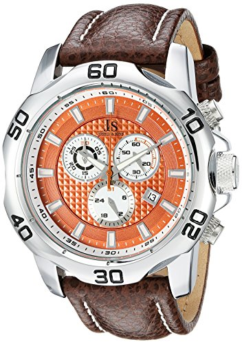 Joshua & Sons Men's JX109SSBR Round Orange Dial Chronograph Quartz Strap Watch