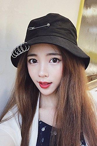 Generic Korean Beautiful Harajuku collapsible hoop pin bucket hat cap fisherman hat cap men and women sun visor travel spring and summer (Trim Bucket Hat)