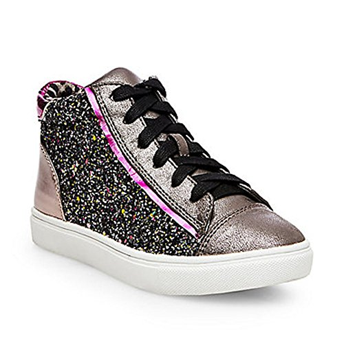 Steve Madden Girls' Jmixalot Sneaker, Pewter/Multi, 4 M US Big Kid
