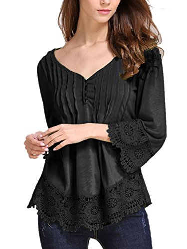 Women's Casual Long Sleeve Lace Splicing Tops V Neck T Shirt (Lace Vneck Tops)