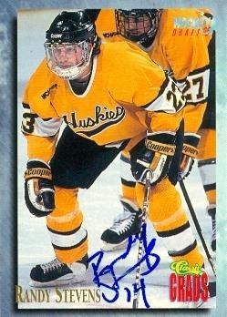 (Randy Stevens autographed Hockey Card (Michigan Tech) 1995 Classic Grads #80)
