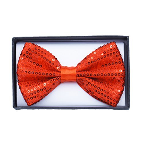 Men's Elegant Satin Silky Adjustable Bowtie Tuxedo Wedding Party by Corner4Shop (Red Sequined)