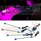 "LEDGlow 4pc Pink LED Interior Underdash Footwell Accent Car Truck Light Kit 9"" Tubes 72 LEDs Control Box Sound Activation Music Mode Strobe Fade Flash 12V Universal"