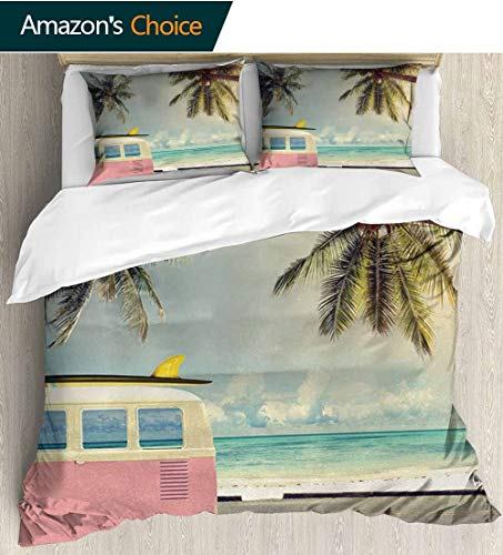 Surf Full Queen Duvet Cover Sets,Minivan on the Beach Retro Inspired Vacation Clouds in Summer Sky Honeymoon Destination 100% Cotton Reversible 3 Pieces Kids Girls Boys Bedding Sets(87
