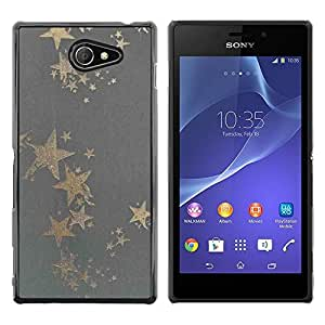 Paccase / SLIM PC / Aliminium Casa Carcasa Funda Case Cover para - Gold Star Grey Bling Pattern Fabric Textile - Sony Xperia M2