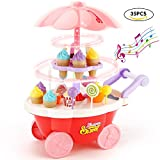 SONiKi 35 PCS Rotating Ice Cream and Candy Mini Cart Pretend Play Food Supermarket Trolley Table Toys with Rotating Light and Melody for Girls and Kids
