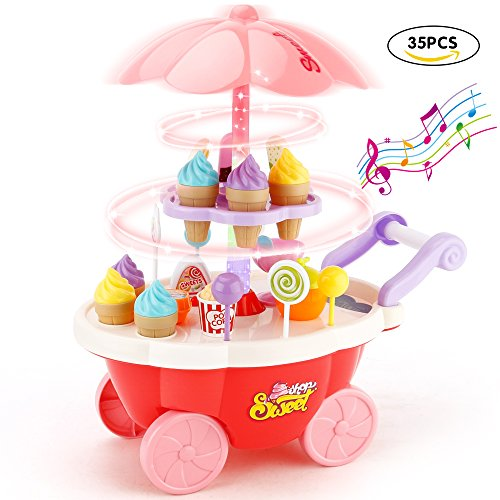 Sotodik 35 PCS Rotating Ice Cream and Candy Mini Cart Pretend Play Food Supermarket Trolley Table Toys with Rotating Light and Melody For Girls and Kids