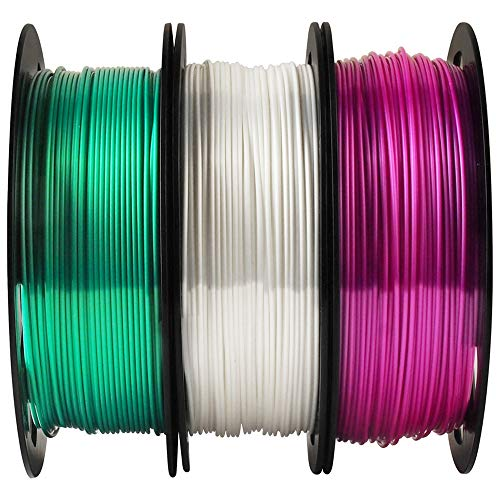 MIKA3D 3D Printer PLA Filament Bundle Shiny Silk Emerald Green Pearl White Purple - 1.75mm 3D Printing Material Each Spool 0.5kg Total 3 Spools 1.5kgs - White Green Pearl
