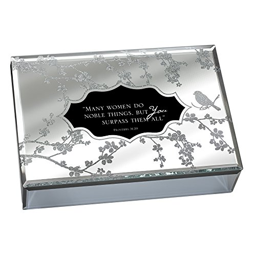 Many Women Do Noble Things Proverbs 31:29-30 Large Deluxe Glass Mirror Jewelry Music Box - Plays Song How Great Thou Art by Cottage Garden