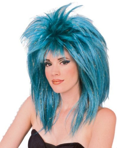 Rubie's Glitter Diva Wig with Tinsel, Blue, One Size