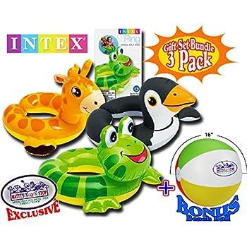 Intex Animal Split Ring Pool Floats Giraffe, Frog & Penguin Gift Set Bundle with Bonus