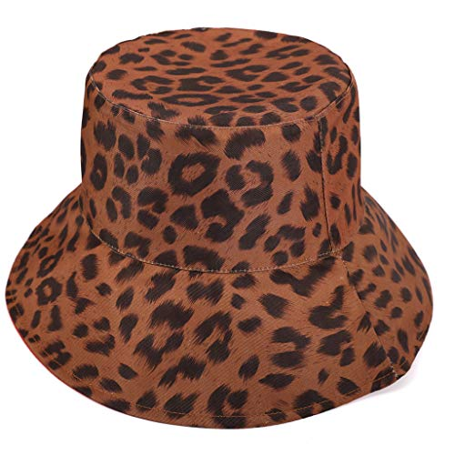 (Mens Womens Checked Bucket Hat Festival Fishing Outdoor Summer Leopard Cap Under 5 Dollars Hats for Women Summer Fashion 2019)