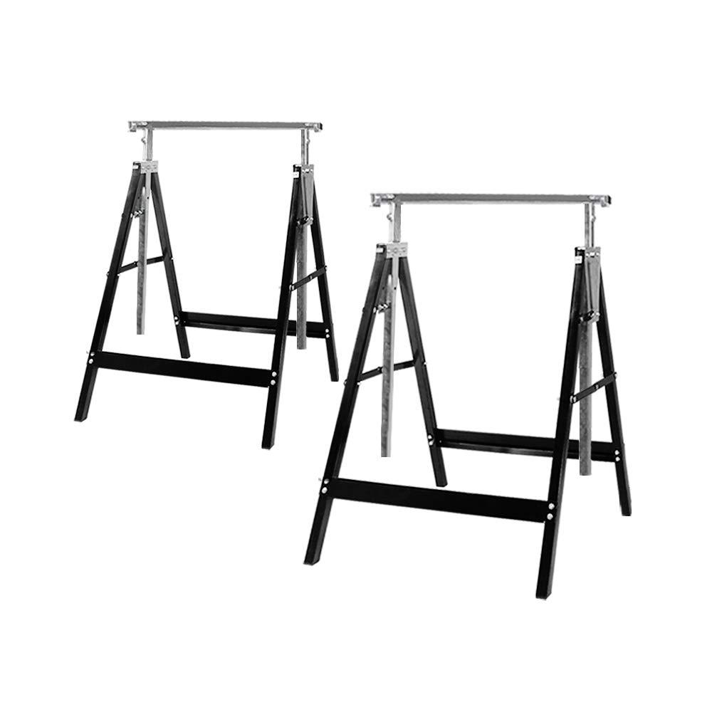 TOYEEKA 2 Pack Sawhorse Pair Heavy Duty Adjustable Folding Portable Builder Trestle