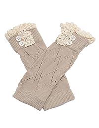 Jelinda Kids Girl's Lace Button Boot Cuffs Toppers Leg Warmer Socks