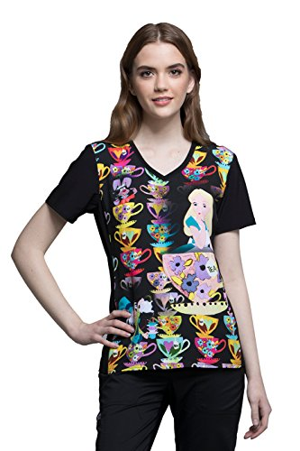 Alice Top - Cherokee Tooniforms by Women's V-Neck Alice in Wonderland Print Scrub Top X-Large Print