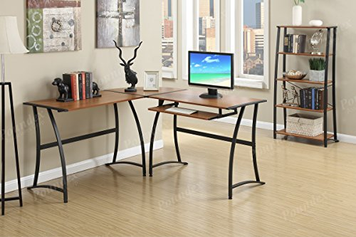 Modern L-Shaped Functional Computer Office Writing Desk Pull Out Tray Wood Top Metal by Advanced Furniture