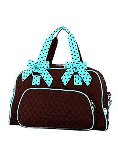 Belvah Quilted Solid Large Weekender Duffel Bag (Brown/Turquoise)