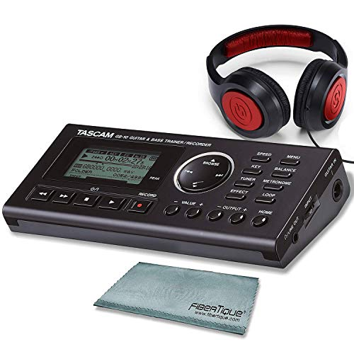 Tascam Bass Trainer - Tascam GB-10 - USB Guitar/Bass Trainer/Recorder Along With Samson Studio Headphones and Transcend SDHC Memory Card