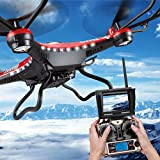 Upgrade JJRC H8D 4CH 5.8G FPV RC Quadcopter Drone HD Camera + Monitor+ 4 Battery,Tuscom@