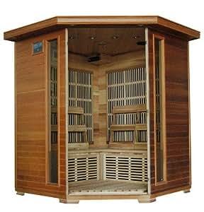 Blue Wave 4 Person Cedar Corner Carbon Sauna