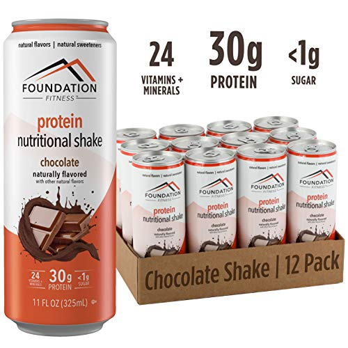 Foundation Fitness Protein Shake, Chocolate, Ready to Drink, 30g Protein, 0g Sugar, 11 fl oz (Pack of 12)