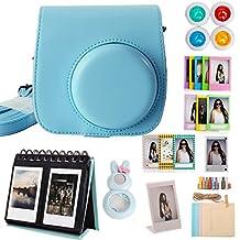 Woodmin Retro Blue 10-in-1 Fujifilm Instax Mini 8 8+ Mini 9 Camera Accessories Bundle Instant Camera Case Kit(Mini case/Calendar Albums/Frames/Film Stickers/Filters/Selfi-Lens)