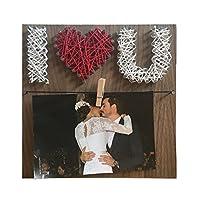 Cuadro Decorativo I love you te amo Love Amor Fotos Portaretratos String Art Cuadro Decorativo Rojo Rojo Aniversario Pareja Madera Nogal Arte Hilo y Clavos 20cm X 20cm String Art
