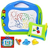 JOYIN 2 Magnetic Drawing Boards with Multi-Colors Drawing Screens Erasable Doodle Sketch Magna Board for Writing, Sketching, Travel Size Gaming Pad, Educational Learning and Classroom Prizes.