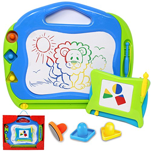 Joyin Toy 2 Magnetic Drawing Boards with Multi-Colors Drawing Screens; Erasable Doodle Sketch Magna Board for Writing, Sketching, Travel Gaming Pad, Educational Learning and Classroom Prizes.