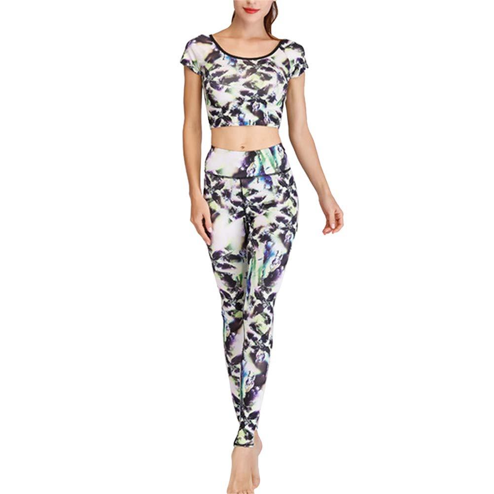 TAAMBAB Damen Trainingsanzug-Set Sport-Top & Leggings 2 Stück Chic Floral Print Tummy Control Wear Gymnastik-Trainingsbekleidung für Yoga Jogging Fitness Training Gym Wear Laufbekleidung